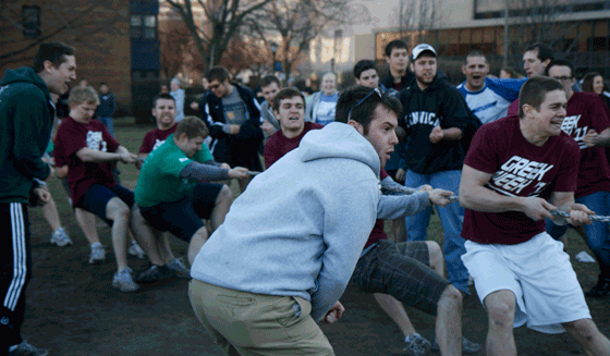 Members of Kappa Sigma Fraternity competes in Tug of War during Greek Week 2011. Photo by Brittany McGrail / Brittany.McGrail@marquette.edu