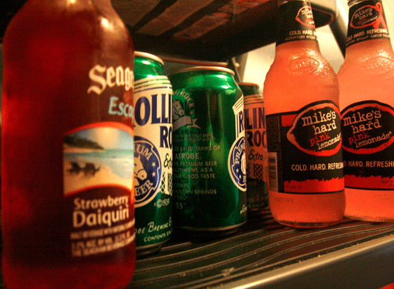 Beer and Hard Mike's Lemonade are propped on a fridge. Photo by Brittany McGrail/brittany.mcgrail@marquette.edu