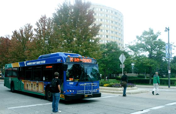 A Milwaukee bus drives through Marquettes Campus. Photo by Brittany McGrail/brittany.mcgrail@marquette.edu