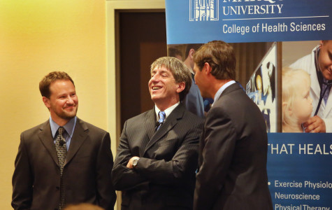 (From left) Assistant professor of biomedical sciences Paul Gasser, College of Health Sciences Dean William Cullinan and Oconomowoc psychiatrist Peter Lake spoke at Monday's depression panel event. Marquette IMC Photo.