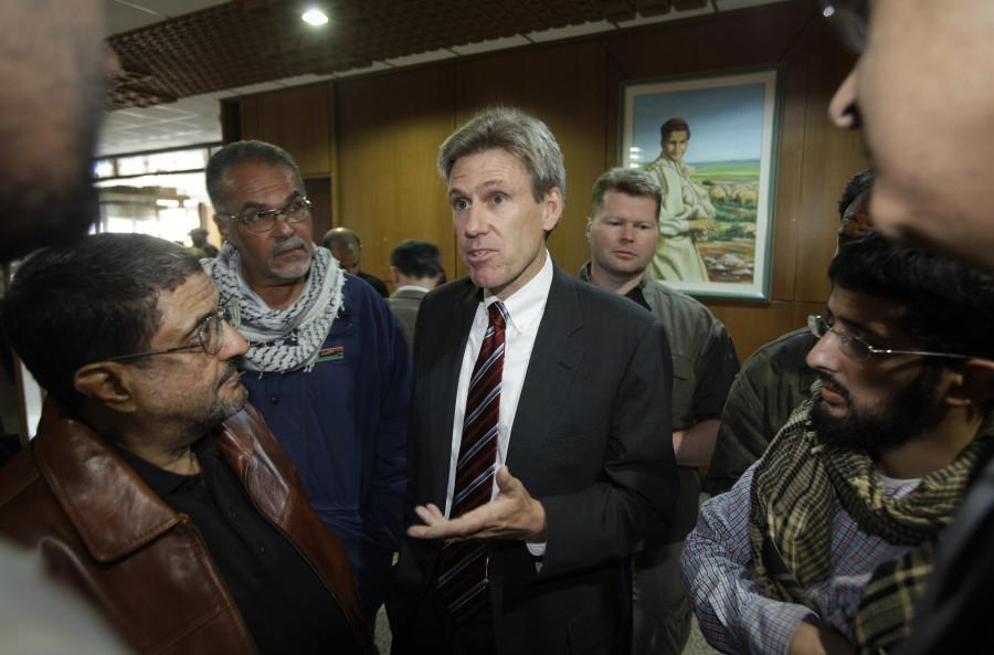 Then U.S. envoy Chris Stevens speaks to local media in Benghazi, Libya on April 11, 2011. Stevens was killed in an attack on the U.S. Consolate in Benghazi on Sept. 12. Photo by Ben Curtis/ Associated Press