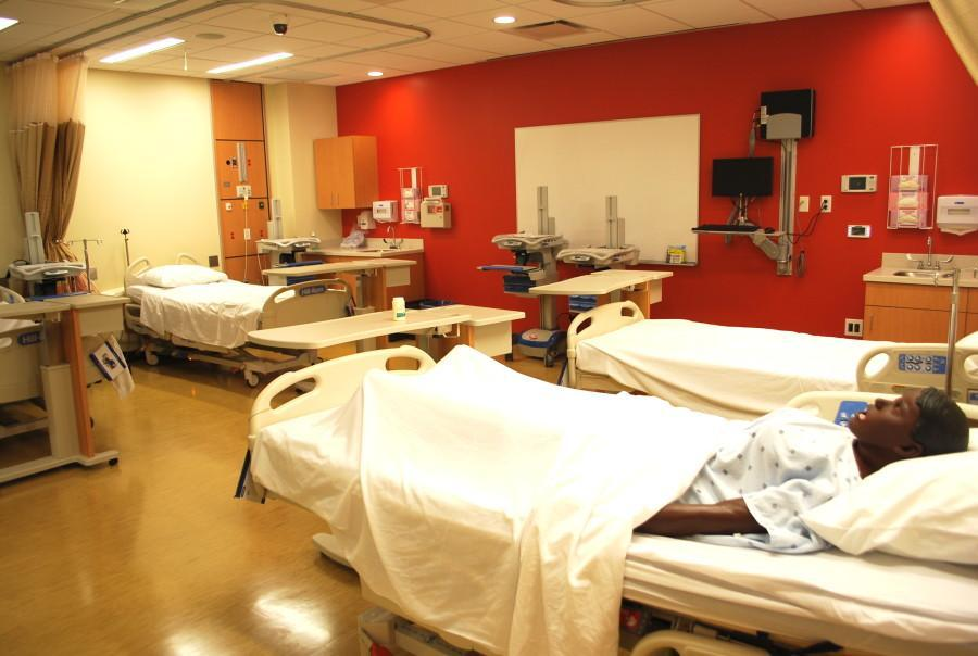 The new center features human simulators, which nursing students can perform many of the same medical procedures they would on actual patients such as drawing blood and taking vital signs. Photo by Rebecca Rebholz / rebecca.rebholz@mu.edu