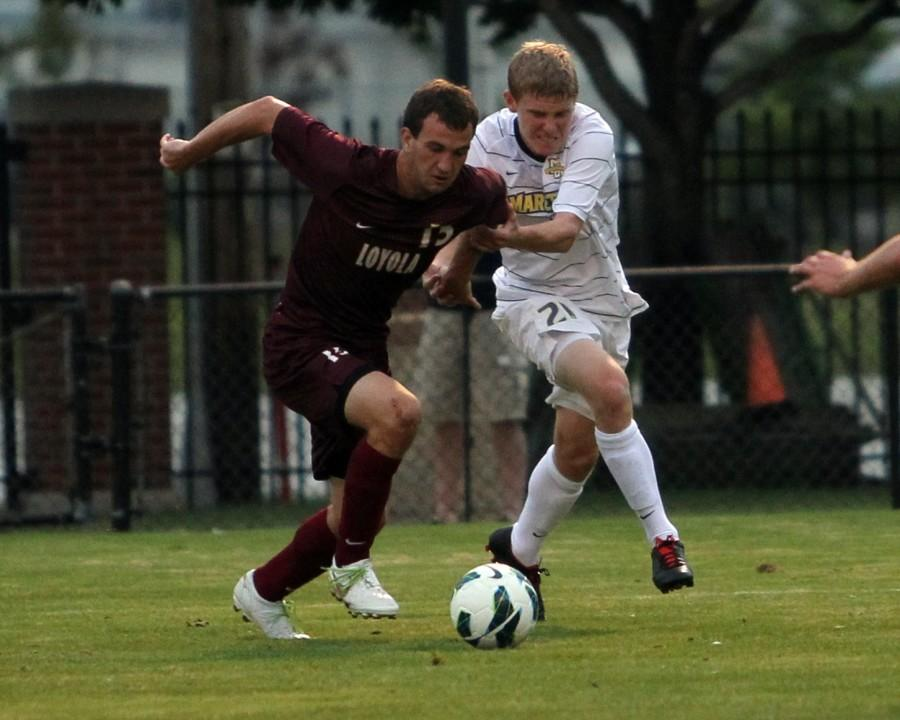 John Pothast scored the opening goal of Marquettes 2-0 win.