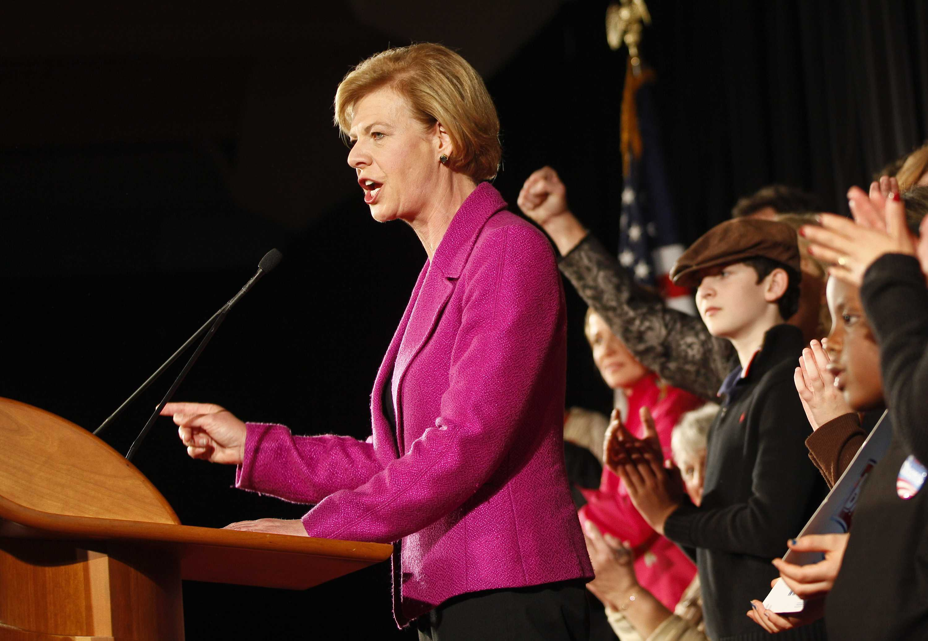 U.S. Rep. Tammy Baldwin, D-Wis., make her victory speech Tuesday, Nov. 6, 2012, in Madison, Wis. Baldwin beat former Wisconsin Gov. Tommy Thompson in the race for Wisconsin's U.S. Senate seat. Photo by Andy Manis/ Associated Press