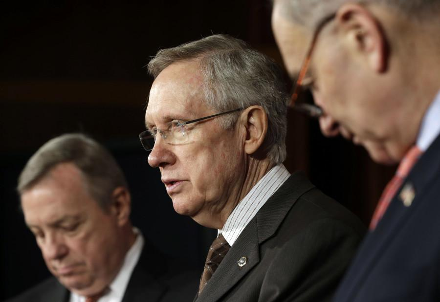AP Photo/Pablo Martinez Monsivais   (Senate Majority Harry Reid, D-Nev., center, with Senate Majority Whip Sen. Dick Durbin, D-Ill., left, and Sen. Chuck Schumer, D-NY., right)