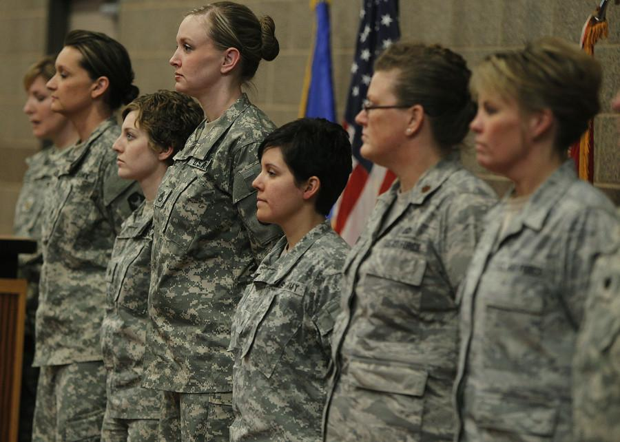 AP Photo/The Star Tribune, Elizabeth Flores ( left, Army Sgt. 1st Class Katie Reed, Army Sgt. Cassie Mecuk, Army Staff Sgt. Andrea Drost, Army Sgt. Katie Warden, Air Force Maj. Ann Todd, and Air Force Master Sgt. Holly Caroon)