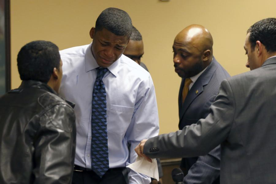 Trent Mays, 17, and 16-year-old Malik Richmond were found delinquent on rape and other charges after their trial in juvenile court in Steubenville, Ohio on Sunday, March 17, 2013 .Mays and Richmond were accused of raping a 16-year-old West Virginia girl in August, 2012. (AP Photo/Keith Srakocic, Pool)