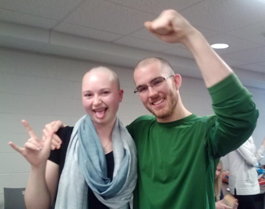 Catherine Knier (left) and Ryan Knott were two of the 160 students who cut off all their hair Saturday. Photo courtesy of Catherine Knier