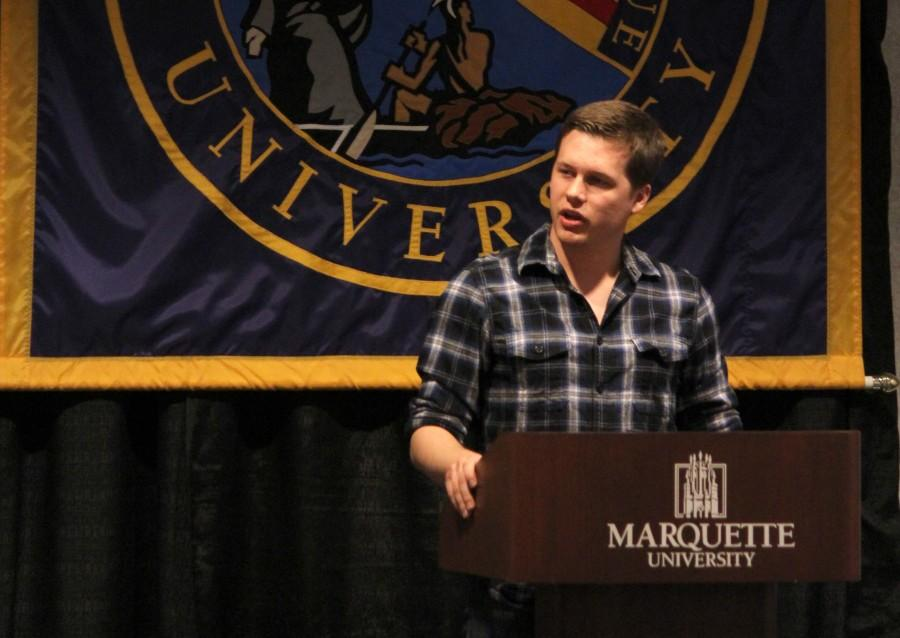 New MUSG President Sam Schultz speaks after being inaugurated Thursday night. Photo by Xidan Zhang/ xidan.zhang@mu.edu