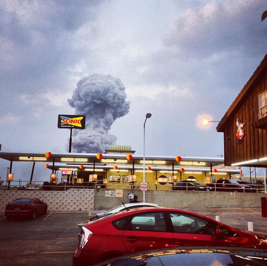 In this Instagram photo provided by Andy Bartee, a plume of smoke rises from a fertilizer plant fire in West, Texas on Wednesday, April 17, 2013.  An explosion at a fertilizer plant near Waco Wednesday night injured dozens of people and sent flames shooting high into the night sky, leaving the factory a smoldering ruin and causing major damage to surrounding buildings. (AP Photo/Andy Bartee)