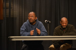 Marcus Roberson (left) and James Parker. Photo by Rebecca Rebholz / rebecca.rebholz@marquette.edu