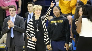 Marquette head coach Terri Mitchell during the Golden Eagles' game versus the Georgetown Hoyas Feb. 1, 2014.