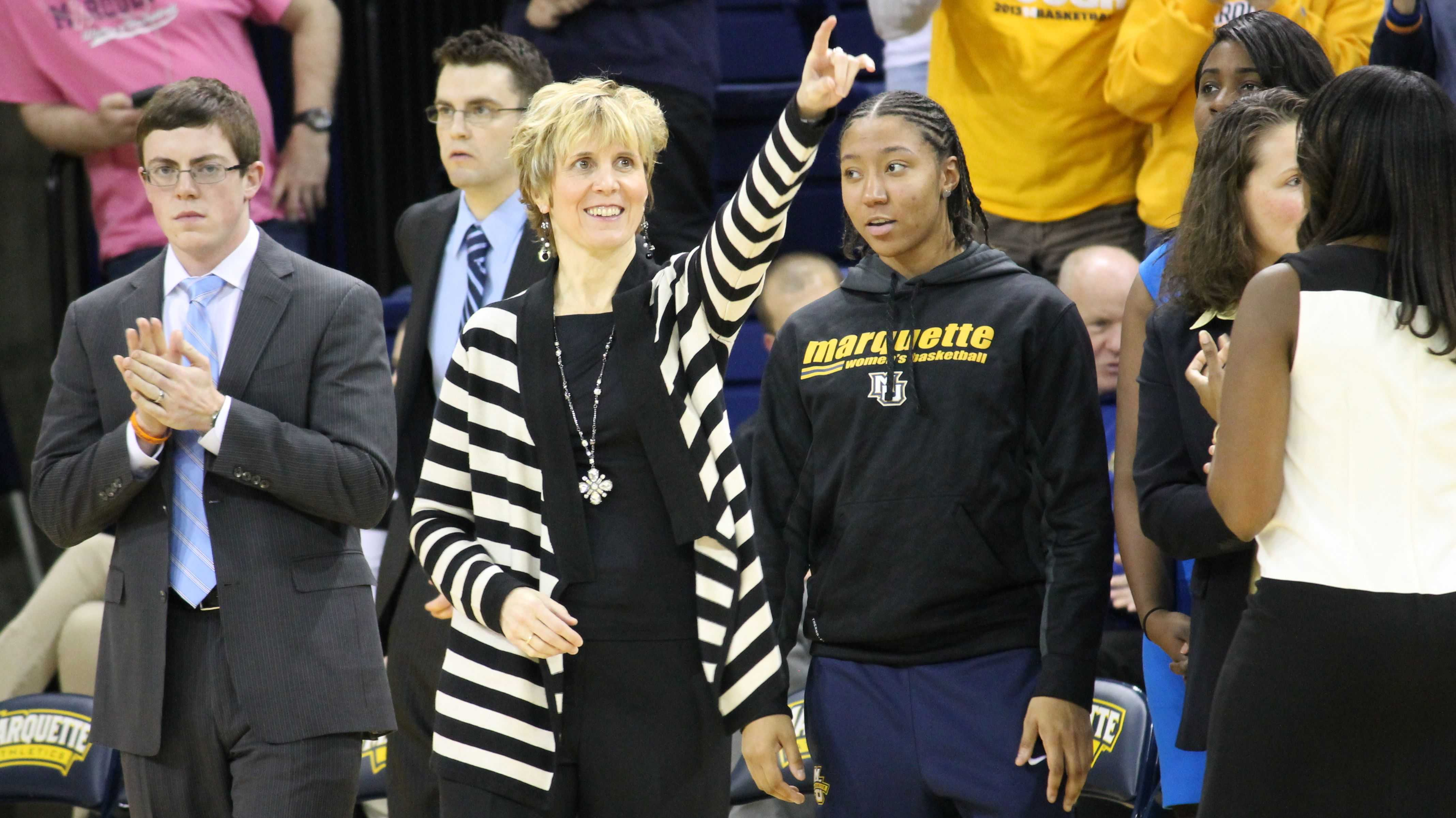 Marquette head coach Terri Mitchell during the Golden Eagles' game versus the Georgetown Hoyas Feb. 1, 2014. (Photo by Francesca Reed / francesca.reed@marquette.edu)