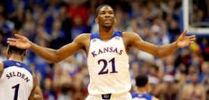 Kansas center Joel Embiid might not play in the NCAA Tournament due to a back injury. Photo via Fox Sports.