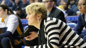 Golden Eagles coach Terri Mitchell looks on during No. 5 Marquette's BIG EAST Quarterfinals matchup with No. 4 Villanova on 3/9/14.