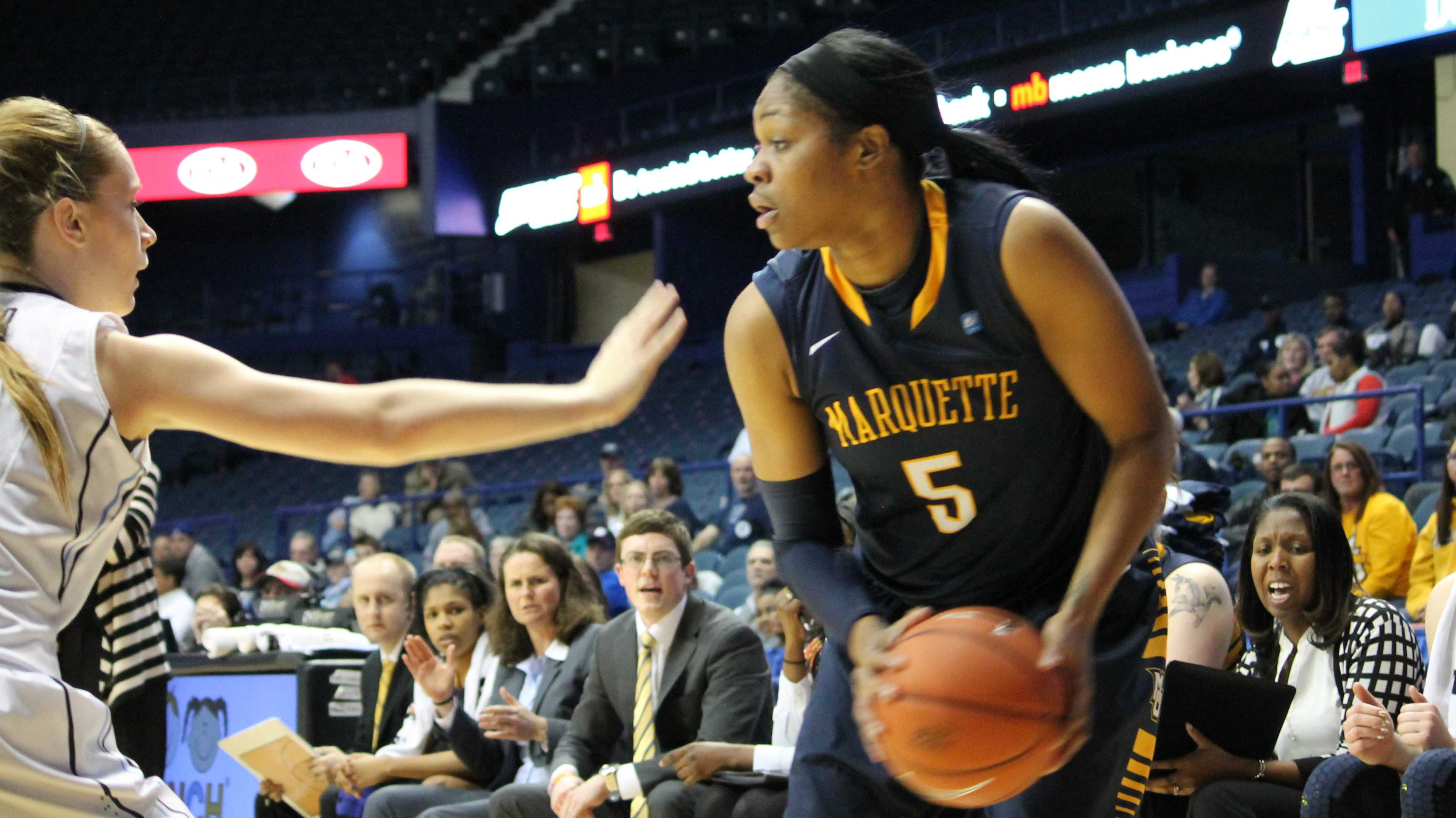 Senior guard Katie Young during the second half of No. 5 Marquette's BIG EAST Quarterfinals matchup with No. 4 Villanova on 3/9/14. (Photo by Francesca Reed / francesca.reed@marquette.edu)