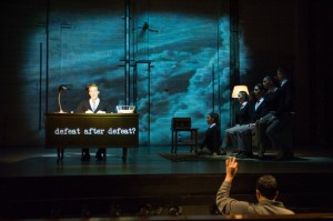 "Actors recite poetry from Allan Ginsberg in ""Hydrogen Jukebox."" Photo via skylightmusictheatre.org"