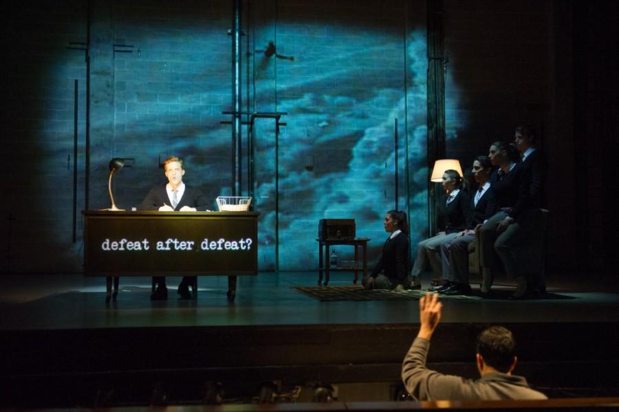 Actors recite poetry from Allan Ginsberg in Hydrogen Jukebox. Photo via skylightmusictheatre.org