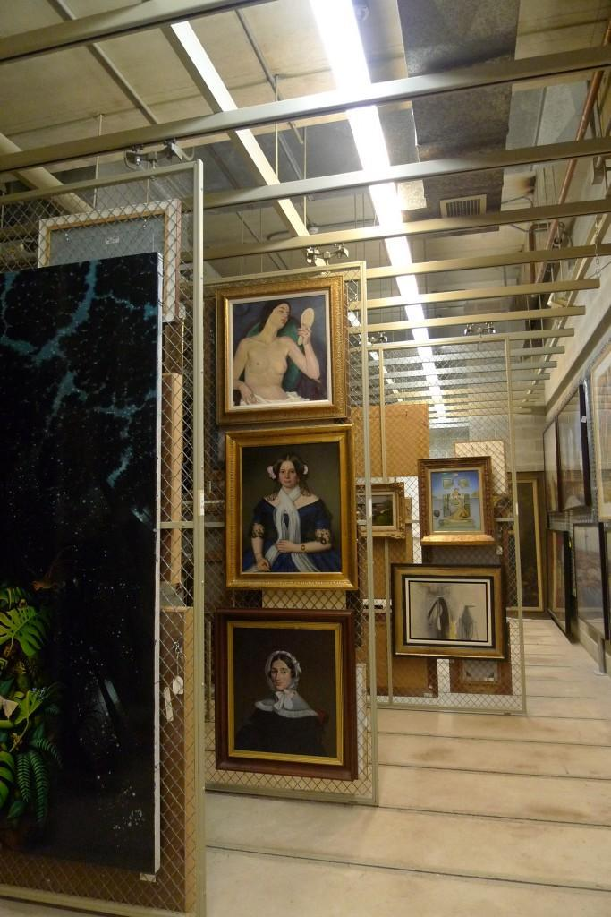 The framed art vault is one of three vaults holding the 5,000 pieces of artwork in the Haggerty Museum's permanent collection.