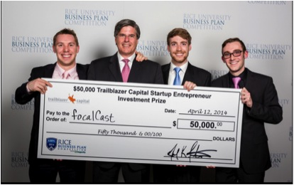 Focalcast founders Devin Turner, Joel Fontenot, Nick Winninger and Charlie Beckwith pose with a $50,000 check made to their start-up app company.
