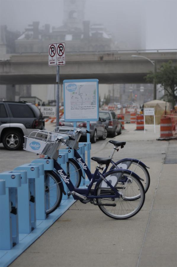 A Bublr Bikes rental station in the Third Ward, one of 9 stations in the downtown area. Photo by Cassie Rogala / cassierogala@gmail.com