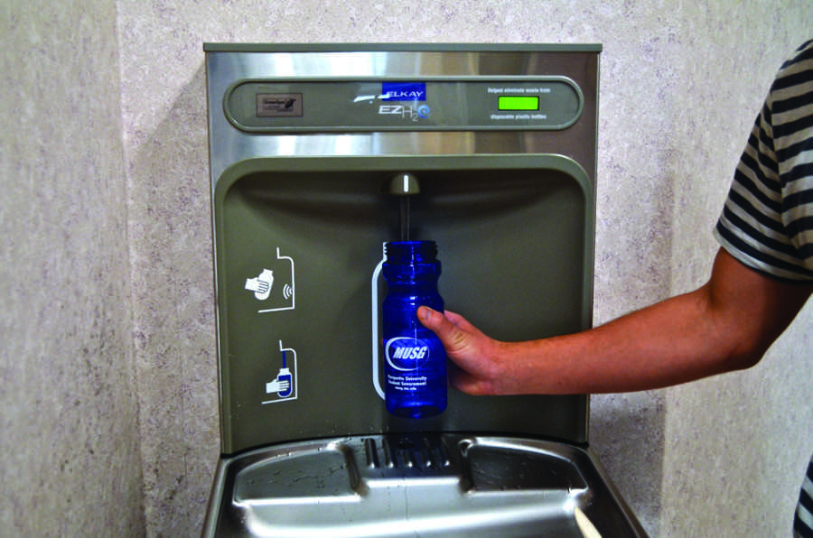 Students are now able to fill up water bottles at automated stations throughout campus after Marquette installed the machines using funds from Marquette Student Government's reserve fund. Photo by Matthew Serafin / matthew.serafin@marquette.edu.