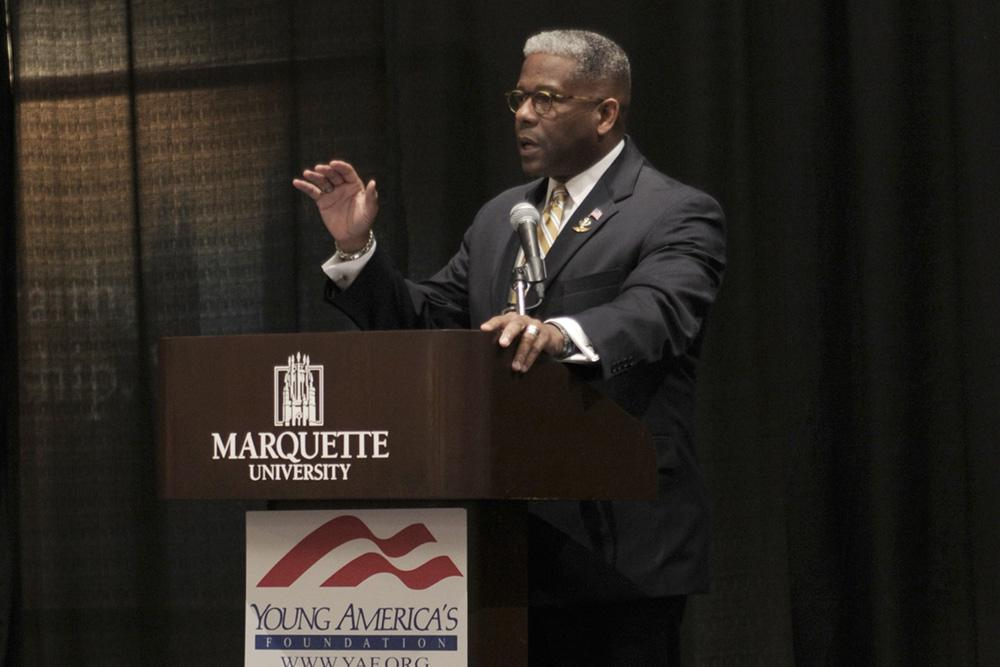 Allen West, a Fox News contributor and conservative political commentator, speaks to students and members of the public an event organized by Marquette College Republicans in the Alumni Memorial Ballrooms Monday night. Photo by Cassie Rogala / cassierogala@gmail.com.