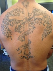 Juan Chacon got his full back tattoo in memory of his uncle. Photo by Hannah Byron/ hannah.byron@mu.edu