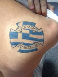 Stephan Kakos' Greek heritage inspired this tat. Photo courtesy of Nicholas Albers.
