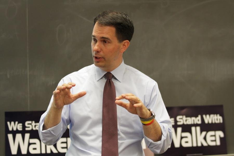 Gov. Scott Walker talks to students