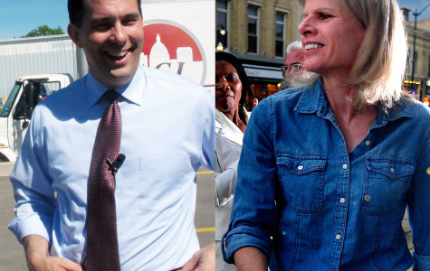 In this combination of 2014 file photos are Wisconsin Republican Gov. Scott Walker, left, and his Democratic challenger, Mary Burke, at campaign events in Wisconsin. (AP Photo/AP, Scott Bauer and The Journal Times, Scott Anderson)
