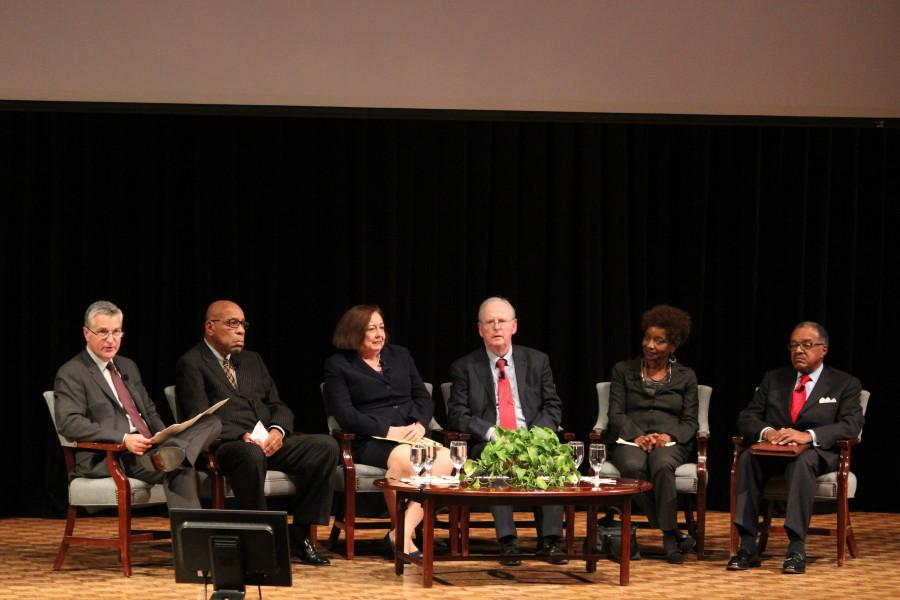 Mike Gousha with the five panelists, all of who played a direct role in the creation of Marquette's Educational Opportunity Program in 1969. Photo by Xidan Zhang / xidan.zhang@marquette.edu