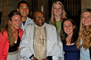 Marquette students pose with social rights activist Desmond Tutu during their time studying in South Africa.