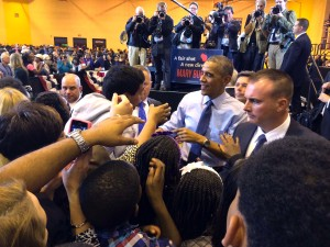 President Barack Obama greets Milwaukee residents at North Division High School while campaigning for Democratic candidate for governor, Mary Burke. Photo by Joe Cahill / joseph.cahill@marquette.edu
