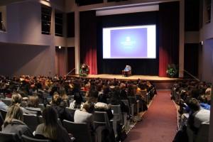 Holocaust survivor Eva Kor addresses Marquette students in the Weasler Auditorium. Photo by Matthew Serafin matthew.serafin@mu.edu