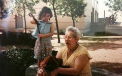 My late grandmother, dog, and I as a toddler, outside the Haggerty Museum of Art on campus.