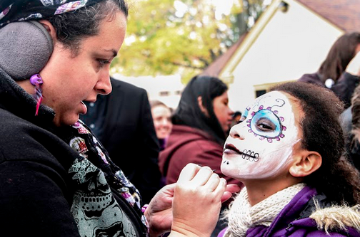 Participants painted their faces in order to resemble skulls. (Photo by Madeline Pieschel/madeline.pieschel@marquette.edu)