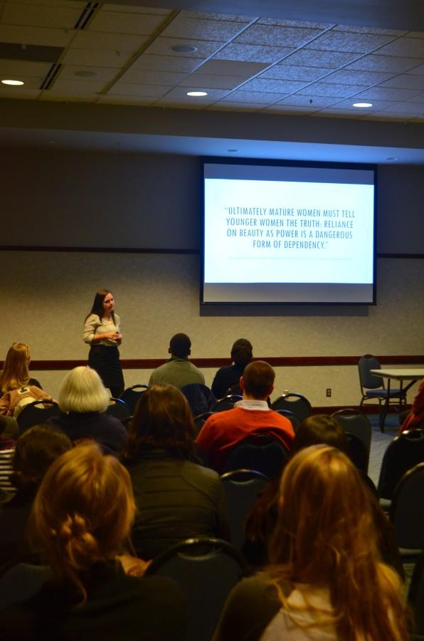 Margaret Wojtulewicz, a senior in the College of Arts & Sciences, presents her research Wednesday.