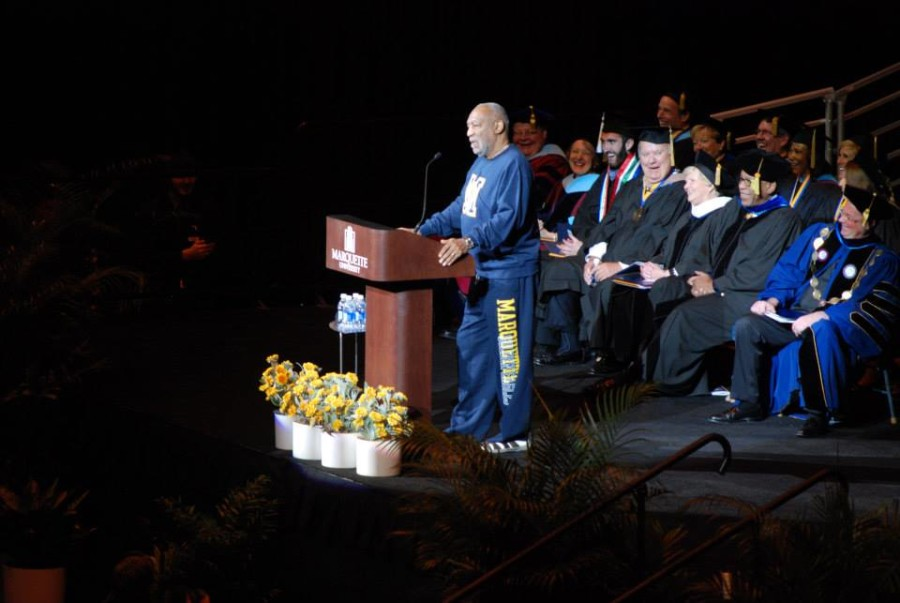 Cosby delivering the 2013 commencement speech. Photo by Rebecca Rebholz / rebecca.rebholz@marquette.edu