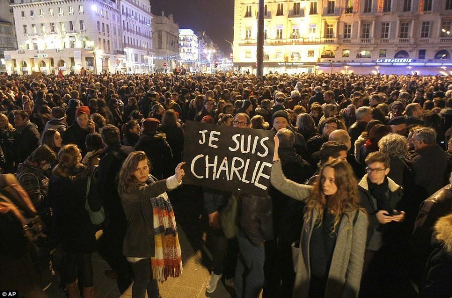 Demonstrators in Paris show support for victims of the attack on Charlie Hedbo. Photo courtesy of Associated Press