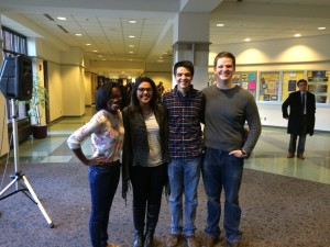 (From left to right) EVP Natalie Pinkney, EVP-elect Aliya Manjee, President-elect Zachary Wallace and President Kyle Whelton pose for a photo after Thursday's election results were announced Friday afternoon.
