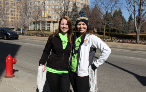 Emily Gaber (left) and Markie Pasternak (right) at the first annual Stomp Out Stigma 5k Run/Walk. Photo courtesy of Angela Habisohn /   angela.habisohn@marquette.edu