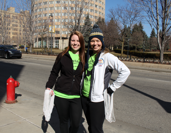 Emily Gaber (left) and Markie Pasternak (right) at the first annual Stomp Out Stigma 5k Run/Walk. Photo courtesy of Angela Habisohn /   angela.habisohn@marquette.edu