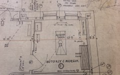 Blue print records of Humphrey's basement  detail what the morgue looks like. Photo courtesy of the Wisconsin Architectural Archives of the Milwaukee Public Library.