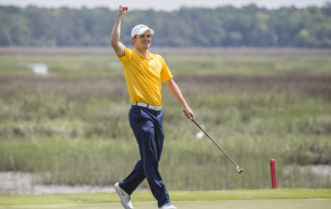 Patrick Sanchez celebrates during his final round at the BIG EAST Championship  April 28, 2015, in Okatie, South Carolina.