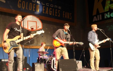 Members of 'MUsic' playing at the Marquette radio show. (Photo courtesy of Kevyn Schwab)