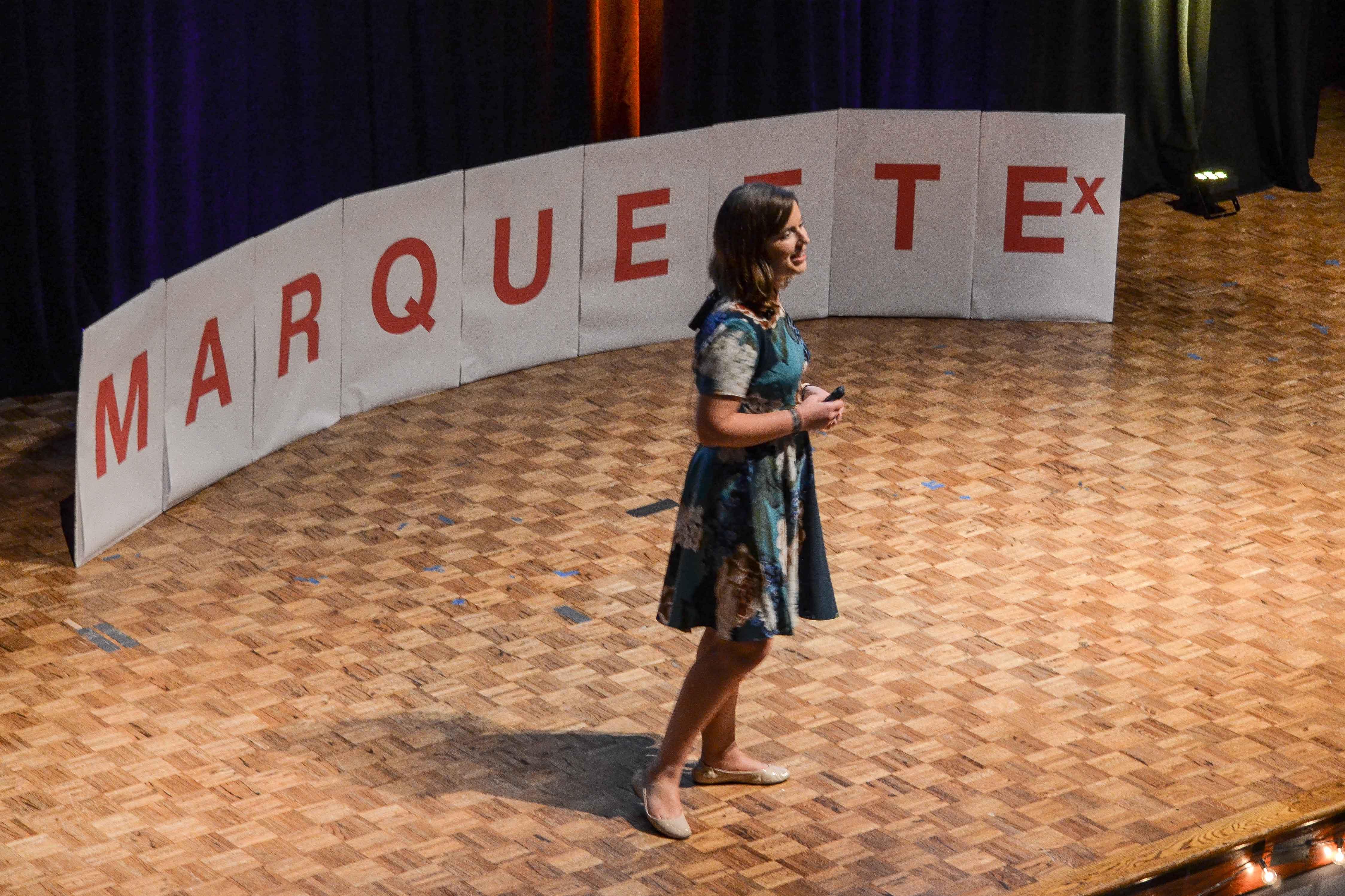 Jane Lorenzi gives her speech at the event. Photo by Matt Serafin /matthew.serafin@marquette.edu
