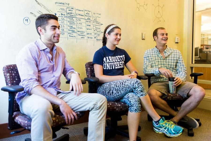 Three pre-health professional students describe their journey and hardships on the path to medical school. From left: Preston Powers, Catrina Tegen, Joe Bartoletti.