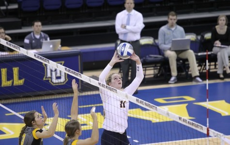 Redshirt junior setter Sara Blasier leads the team in assists. Photo by Doug Peters/douglas.peters@marquette.edu
