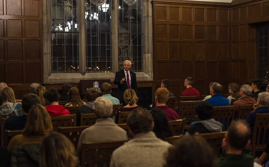 Joseph Cirincione spoke to around 40 members of the Marquette community about the Iran nuclear deal Tuesday. Photo by Nolan Bollier/ nolan.bollier@marquette.edu